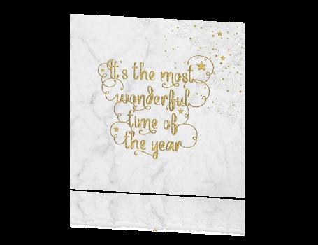 Luxe kerstkaart in marmer en kerstwens in glitter goudkleur - Luxe marmer ...