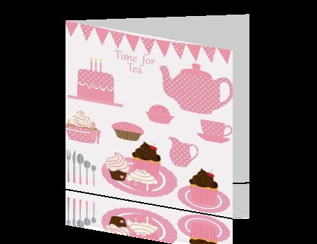 high tea uitnodiging met slingers en stippen