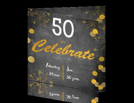 Bedwelming Luxe uitnodiging voor een 50e verjaardag met vuurwerk #BQ78