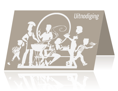 Trendy uitnodiging barbecue tuinfeest met silhouetten taupe