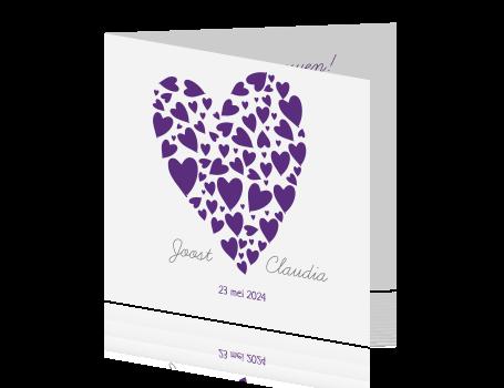 Uitnodiging Bruiloft Trouwkaart Met Paars Hart