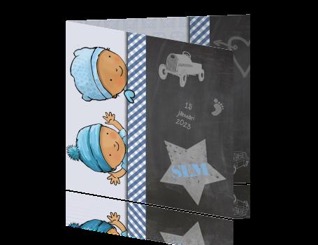 Baby Behang Jongen.Geboortekaartje Baby Jongen Met Blauw Auto Behang En Krijtbord