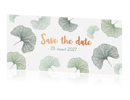 Save the date ginkgoblad koperfolie druk