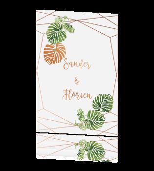 Bohemian Trouwkaart Palmbladeren En Koper Geometrisch