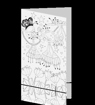 Uitnodiging 10 Jaar Getrouwd Kleurplaat Kaart Hangende Bloemen