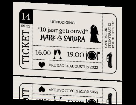originele jubileum uitnodiging ticket 10 jaar getrouwd