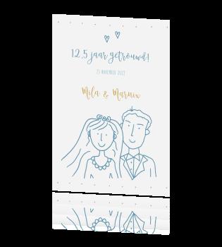 Populair juileumkaart 12,5 jaar getrouwd bruidspaar &DY23
