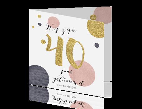 40 jaar getrouwd goud Hippe uitnodiging 40 jaar getrouwd goud roze en paars 40 jaar getrouwd goud