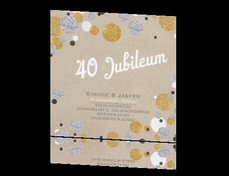 40 jaar getrouwd zilver Uitnodiging 40 jaar getrouwd met confetti in zilver en goudlook 40 jaar getrouwd zilver