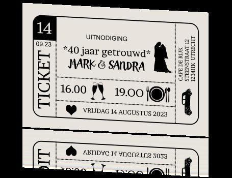 uitnodigingsteksten 40 jaar Originele jubileum uitnodiging ticket 40 jaar getrouwd uitnodigingsteksten 40 jaar