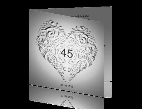 45 jaar getrouwd kaart Jubileum kaart zilver huwelijk 45 jaar getrouwd 45 jaar getrouwd kaart