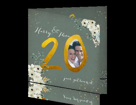 Spiksplinternieuw Jubileum uitnodiging 20 jaar getrouwd goud look GO-53