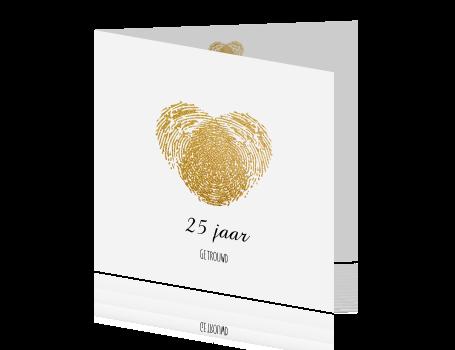 kaarten 25 jaar getrouwd uitnodiging 25 jaar getrouwd kaart maken gouden vingerafdruk kaarten 25 jaar getrouwd uitnodiging