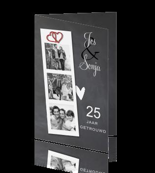 25 jarig huwelijk kaarten maken Moderne jubileum uitnodiging 25 jaar getrouwd met fotostrip 25 jarig huwelijk kaarten maken