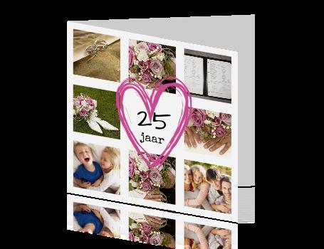 25 jaar getrouwd kaart maken Hippe jubileum kaart fotocollage 25 jaar getrouwd 25 jaar getrouwd kaart maken
