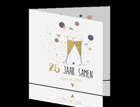 Top Trendy uitnodiging 25 jarig jubileum champagne glazen met goud &ZW17
