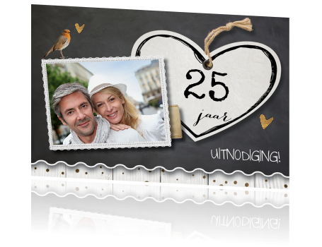 25 jarig jubileum uitnodiging Jubileum uitnodiging 25 jaar getrouwd hart en krijtbord 25 jarig jubileum uitnodiging
