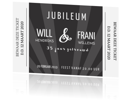 jubileum 35 jaar kaart ticket hollywood look