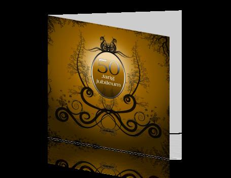 Uitzonderlijk Originele goudkleurige uitnodiging voor een 50-jarige bruiloft &SK24