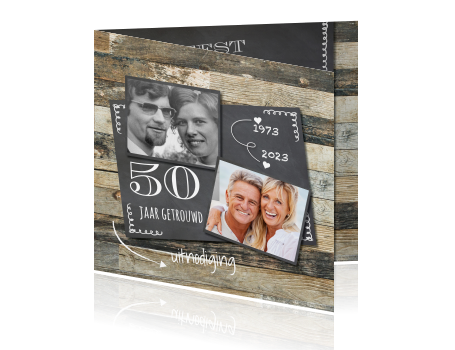 uitnodiging kaart 50 jaar Houten foto collage uitnodiging 50 jaar getrouwd uitnodiging kaart 50 jaar