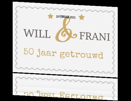 postzegel op kaart Jubileum 50 jaar getrouwd kaart postzegel goud