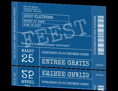 Populair Leuke originele 50 uitnodigingskaart vip ticket feest @OM42