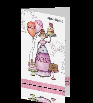 Beste Vrolijke uitnodiging verjaardag 50 jaar vrouw Sarah FN-69