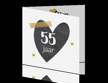 55 jaar getrouwd Hippe uitnodigingskaart krijt hart met goud 55 jaar getrouwd 55 jaar getrouwd