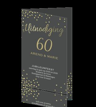uitnodiging 60 jaar 60 jaar getrouwd uitnodiging goud tinten confetti uitnodiging 60 jaar