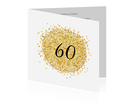 Verbazingwekkend Chique trendy kaart feest 60 jaar met hartjes in goudkleur WO-89