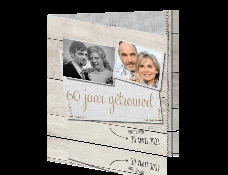 60 jarig huwelijk uitnodiging Hout uitnodiging feestje 60 jaar huwelijk 60 jarig huwelijk uitnodiging