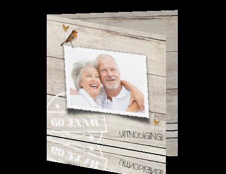60 jaar getrouwd kaart Jubileum uitnodiging 60 jaar getrouwd hout en koper hartjes