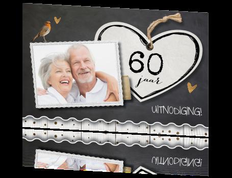 60 jaar getrouwd jubileum Jubileum uitnodiging 60 jaar getrouwd hart en krijtbord 60 jaar getrouwd jubileum