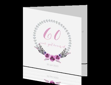 60 jaar getrouwd jubileum Trendy uitnodiging voor een 60 jaar getrouwd feest met krans 60 jaar getrouwd jubileum