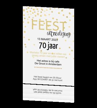 Ongekend Stijlvolle trendy uitnodiging met gouden confetti 70 jaar MN-34