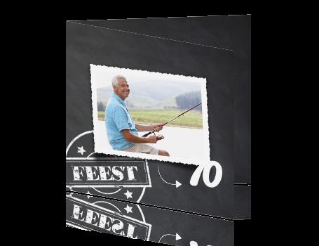 Uitnodigingskaart Verjaardag Feest 70e Man Krijtbord Met Stempel