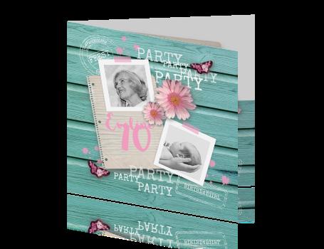 Uitnodiging 70ste Verjaardag Hout Bloemen En Foto