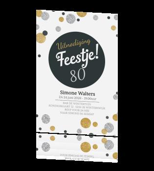uitnodiging 80 jaar Uitnodiging 80 jaar met confetti in zilver en goudlook uitnodiging 80 jaar