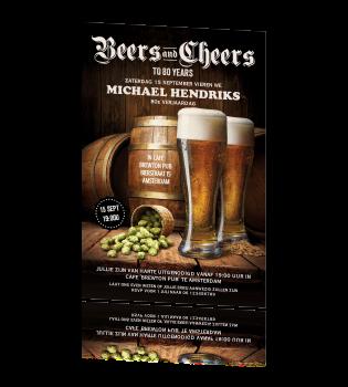Uitnodiging 80e Verjaardag Feest Man Bier En Houten Vat