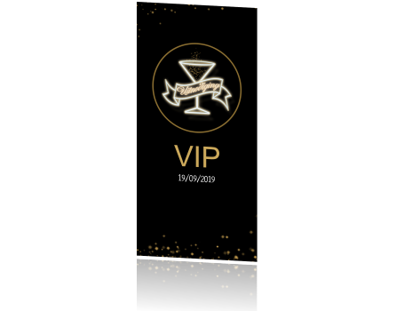 Uitnodiging verjaardag VIP black and gold