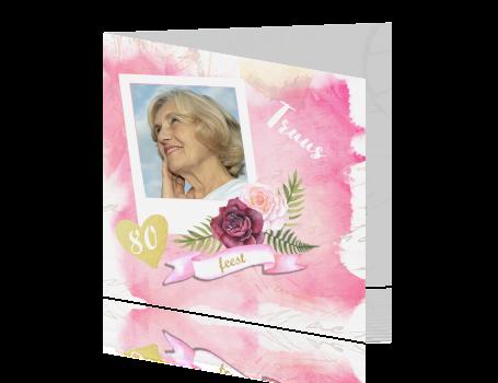 Uitnodigingskaart Verjaardag Vrouw 80 Jaar Roze Aquarel En Roze Rozen