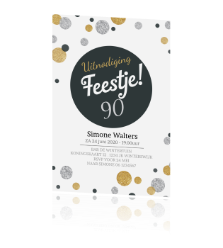 Magnifiek Uitnodiging 90 jaar met confetti in zilver en goudlook #CG65