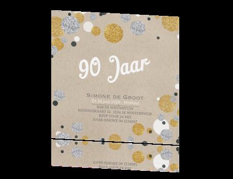 Bekend Uitnodiging 90 jaar enkel met confetti in zilver en goudlook @SS36