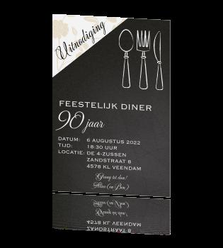Favoriete Uitnodigingskaart diner etentje 90 jaar verjaardag &TY42