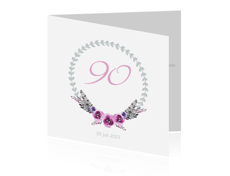 Favoriete Trendy verjaardagsfeest uitnodiging 90 jaar met krans #RD69