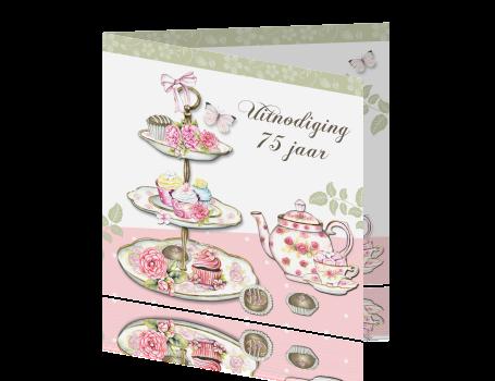 uitnodiging 75ste verjaardag high tea feest vrouwen